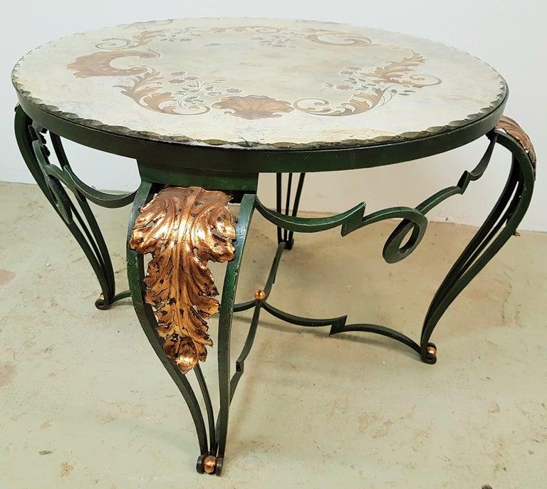 Art Deco Coffee Table with Églomisé Mirror by René Drouet, France, 1940 For Sale 6