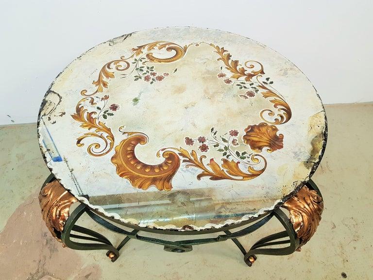Art Deco Coffee Table with Églomisé Mirror by René Drouet, France, 1940 For Sale 7