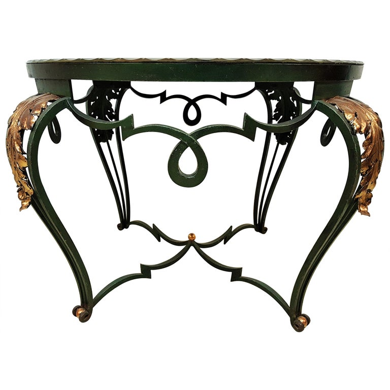 Art Deco Coffee Table with Églomisé Mirror by René Drouet, France, 1940 For Sale