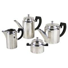 Art Deco Coffee/ Tea Set of Four, Silver Plated, Italy, circa 1920
