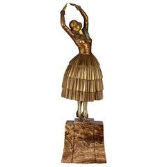 "Art Deco Cold Painted Bronze Ballet Russe Figure ""Cleo"" by Demetre Chiparus"