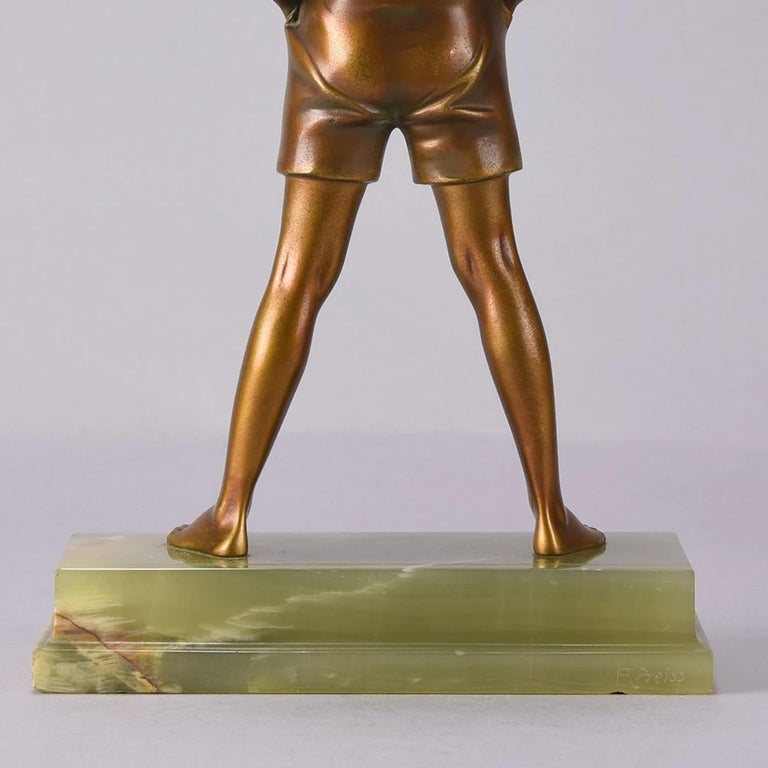 Art Deco Cold Painted Bronze Figure 'Sonny Boy' by Ferdinand Preiss For Sale 2