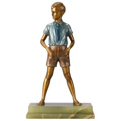 Art Deco Cold Painted Bronze Figure 'Sonny Boy' by Ferdinand Preiss