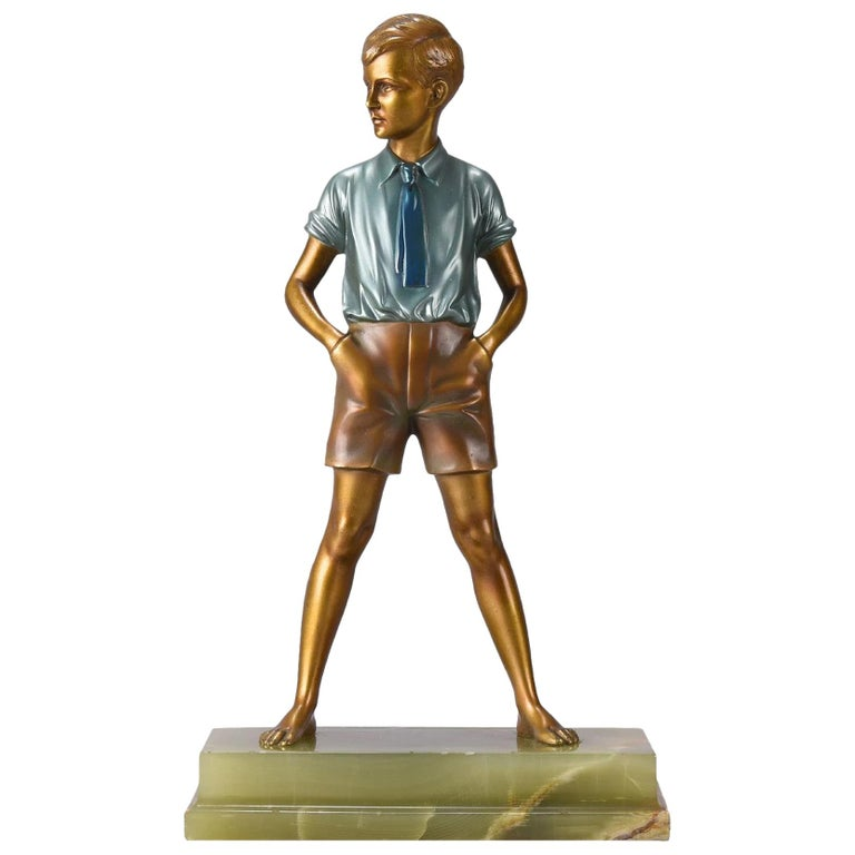 Art Deco Cold Painted Bronze Figure 'Sonny Boy' by Ferdinand Preiss For Sale
