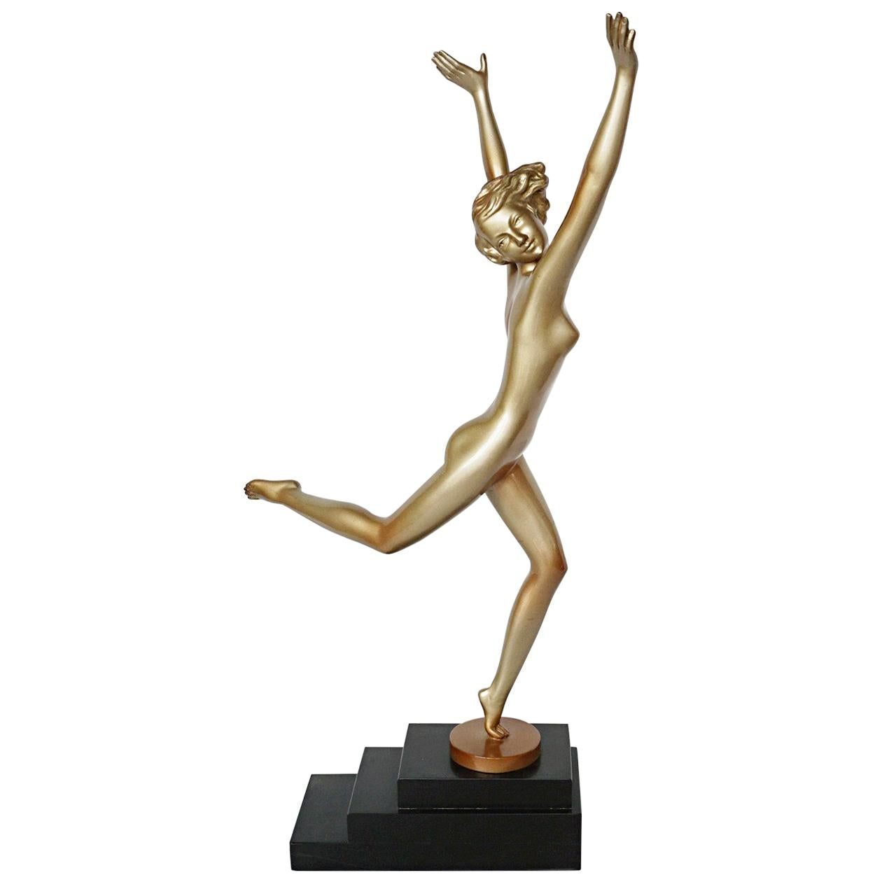 Art Deco Cold Painted Bronze Sculpture of a Dancing Female by Josef Lorenzl