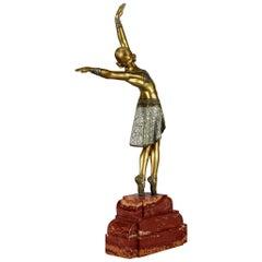 """Art Deco Cold Painted Gilt Bronze Figure """"Vedette"""" by Demetre Chiparus"""