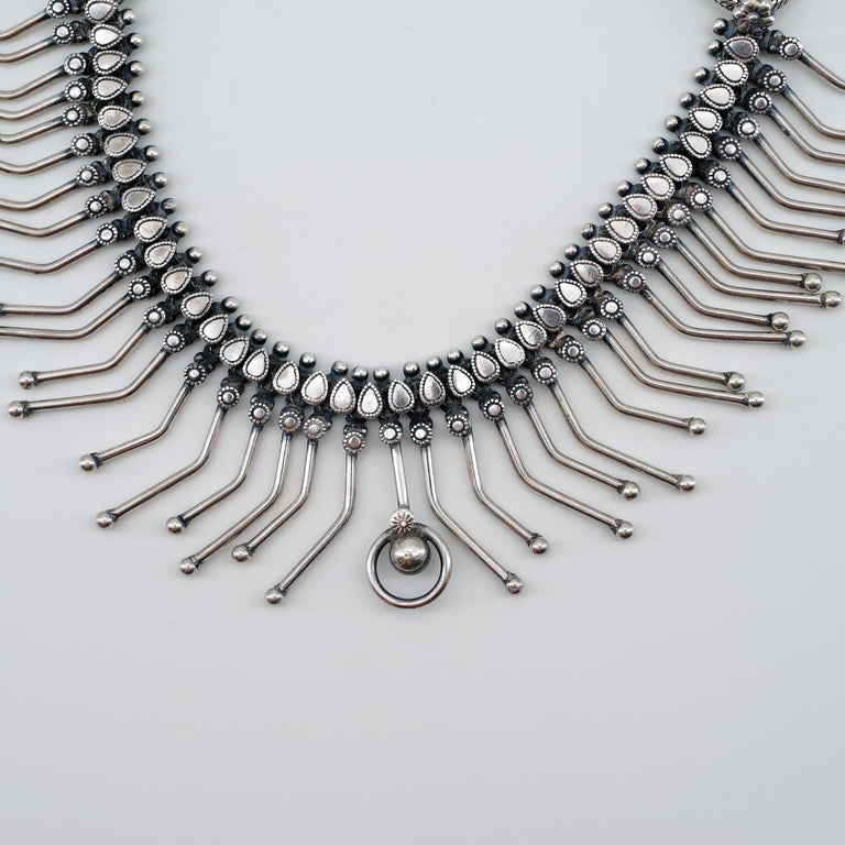Art Deco Collar Necklace in Silver is Dramatic Statement Piece For Sale 1