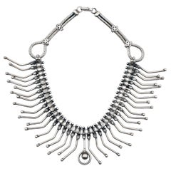 Art Deco Collar Necklace in Silver is Dramatic Statement Piece