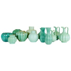 Art Deco Collection of 12 Green Ceramic Pieces Made in Sweden, 1930s-1940s