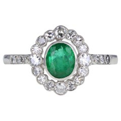Art Deco Colombian Emerald and Diamond Cocktail Engagement Ring