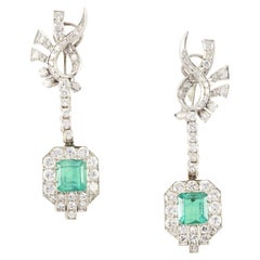Art Deco Colombian Emerald and Diamond Drop Down Earrings