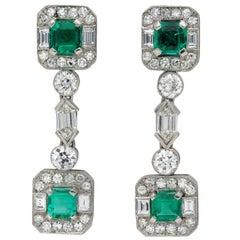 Art Deco Colombian Emerald and Diamond Drop Earrings, circa 1925