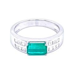 Art Deco Colombian Emerald Diamond Gold Ring
