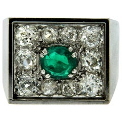 Art Deco Colombian Emerald Diamond Platinum Ring