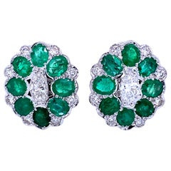 Art Deco Style Colombian Emerald Marquise Diamond Gold Cluster Earrings