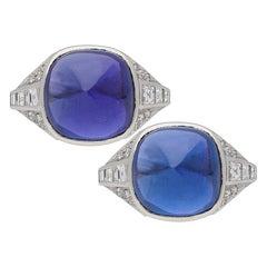 Art Deco Color Change Sapphire Cabochon Ring, circa 1930