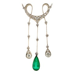 Art Deco Columbian Emerald and Diamond Necklace