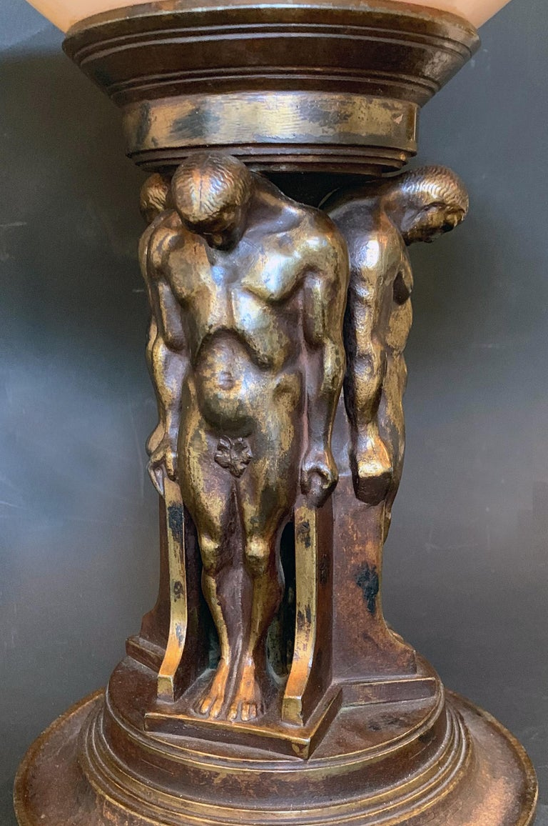 American Art Deco Compote with Nude Male Caryatids, Oscar Bach Bronze with Lustre Glass For Sale