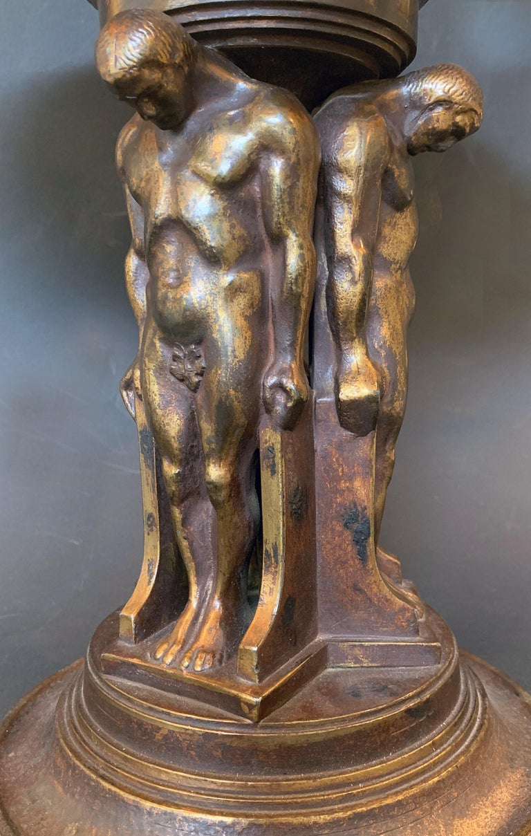 Cast Art Deco Compote with Nude Male Caryatids, Oscar Bach Bronze with Lustre Glass For Sale