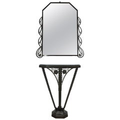 Art Deco Console and Mirror Silvered and Bronzed Wrought Iron, circa 1930