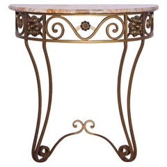 Art Deco Console Table Wrought Iron Marble Top, French, circa 1930