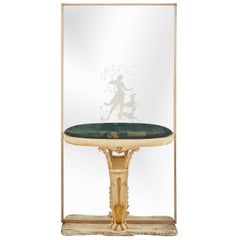 Art Deco Console with Etched Mirror Depicting Diana the Huntress
