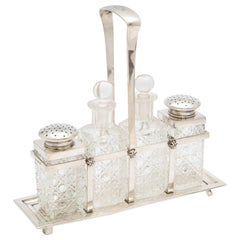 Art Deco Continental '.800' Silver-Mounted Hobnail Cut-Glass Cruet Set on Stand