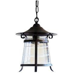 Art Deco Copper and Cut-Glass Lantern