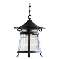 Art Deco Copper and Cut-Glass Lantern