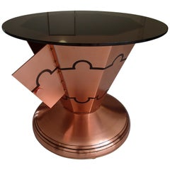 Art Deco Copper Bar Table on Wheels with Turnable Tray Inside and Glass Top