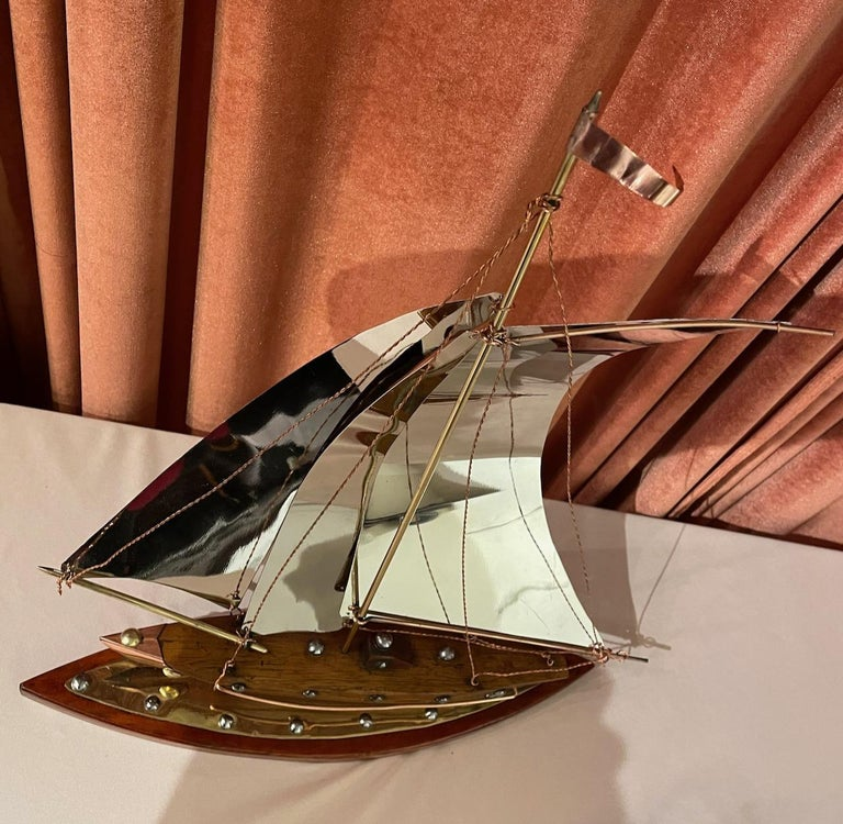 French Art Deco Copper, Chrome, Brass and Wooden Sailing Boat Sculpture For Sale