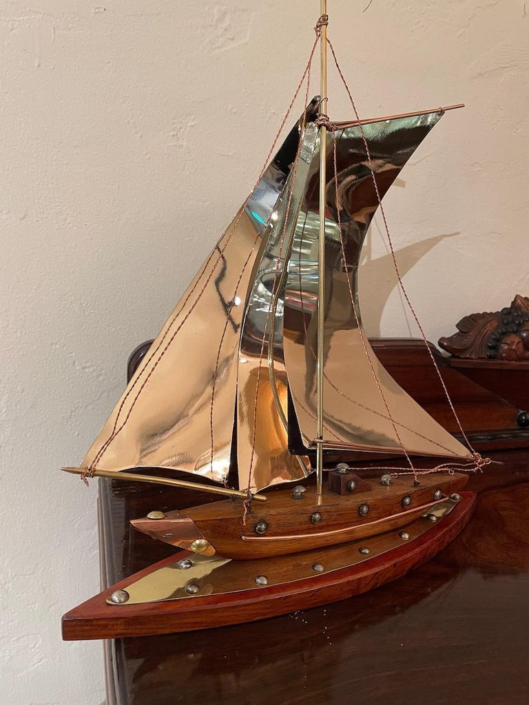 Mid-20th Century Art Deco Copper, Chrome, Brass and Wooden Sailing Boat Sculpture For Sale
