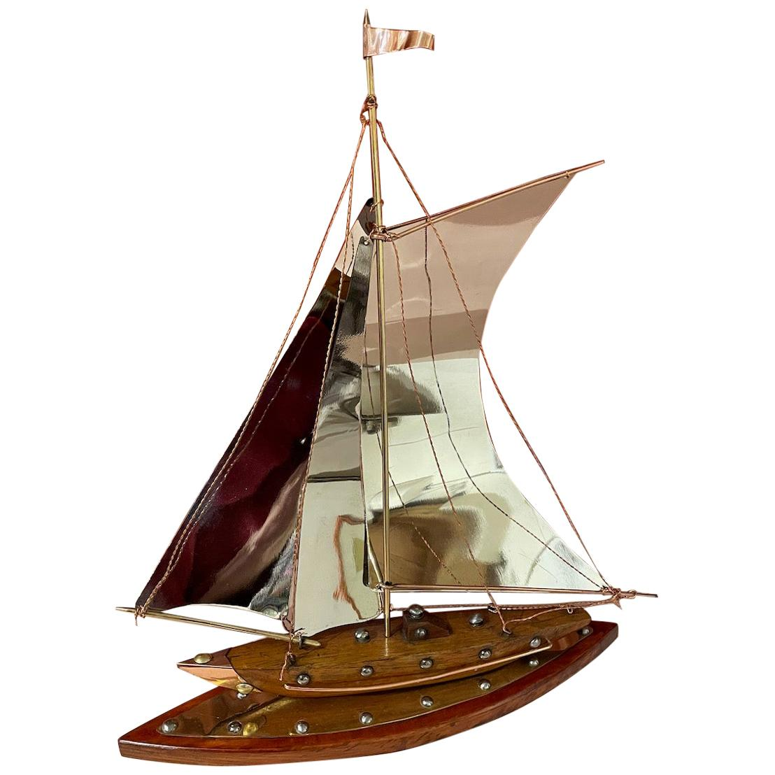 Art Deco Copper, Chrome, Brass and Wooden Sailing Boat Sculpture