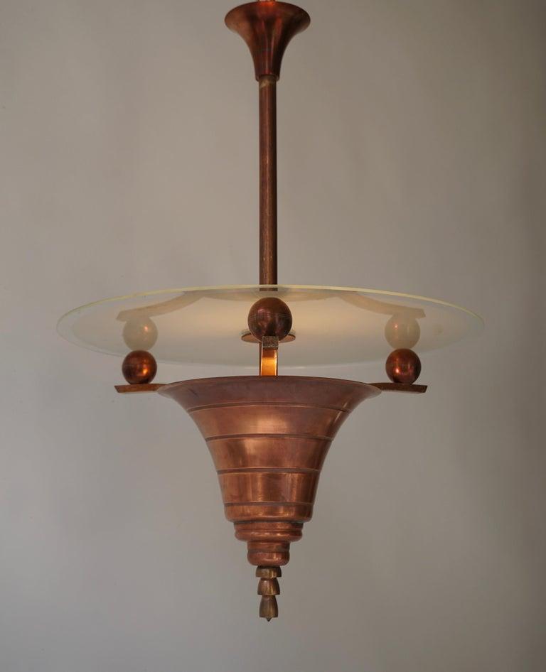 Italian Art Deco Copper Pendant Chandelier For Sale
