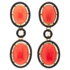 Art Deco Coral Black Enamel Ear Pendants