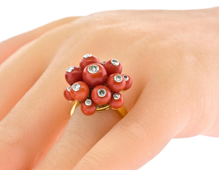 Art Deco Coral, Diamond, 18 Karat Yellow Gold and Platinum Ring, circa 1937 In Excellent Condition For Sale In Aspen, CO