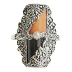 Art Deco Coral, Onyx, Pearl, Sterling Silver and Marquisette Ring