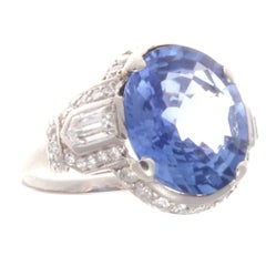 Art Deco Cornflower Sapphire Diamond Platinum Ring