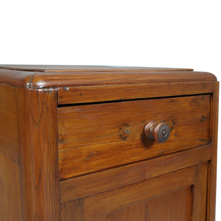 Italian Art Deco Country Bedside Table Nightstand in Pine, Restored and Polished to Wax For Sale