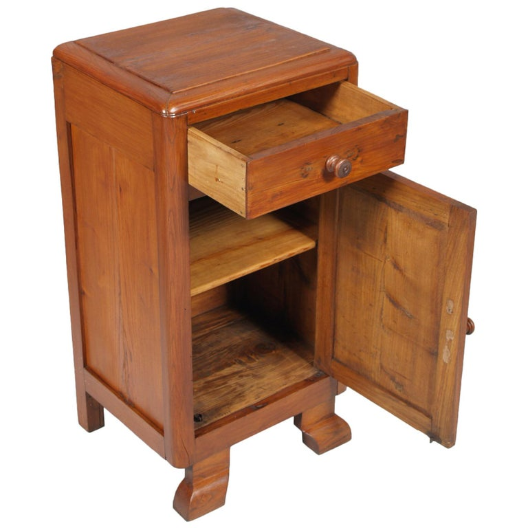 20th Century Art Deco Country Bedside Table Nightstand in Pine, Restored and Polished to Wax For Sale