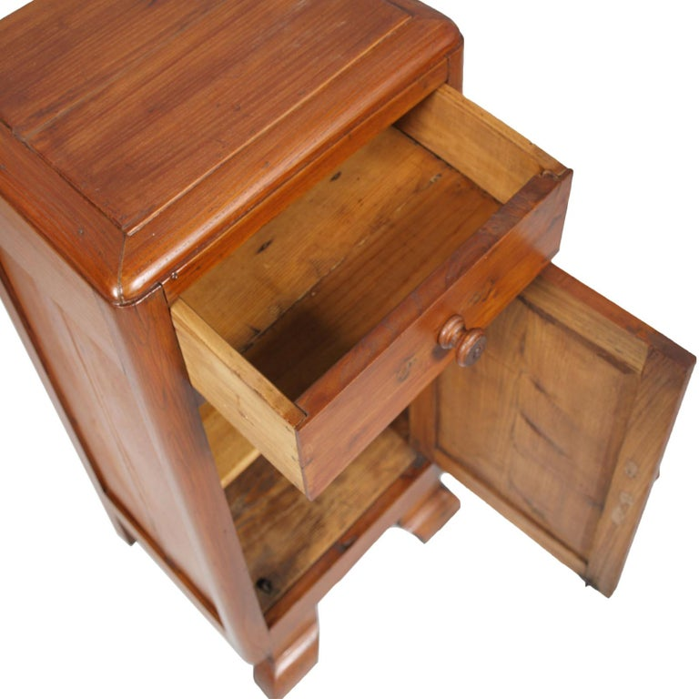 Art Deco Country Bedside Table Nightstand in Pine, Restored and Polished to Wax For Sale 1