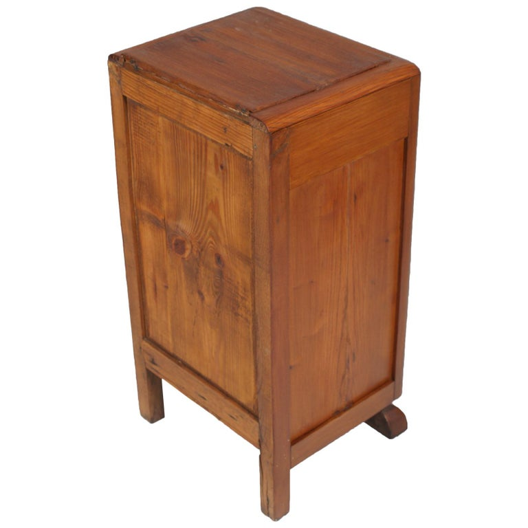 Art Deco Country Bedside Table Nightstand in Pine, Restored and Polished to Wax For Sale 2