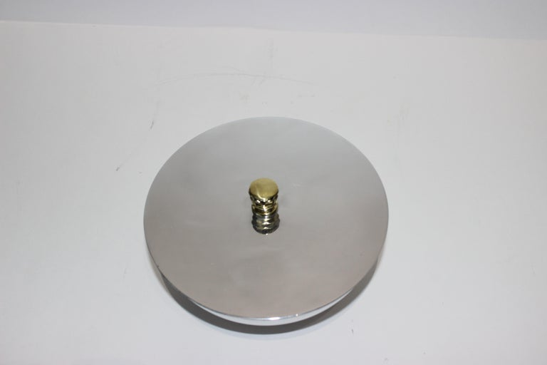 Art Deco Covered Dish Bowl in Aluminum Brass by Kensington For Sale 7