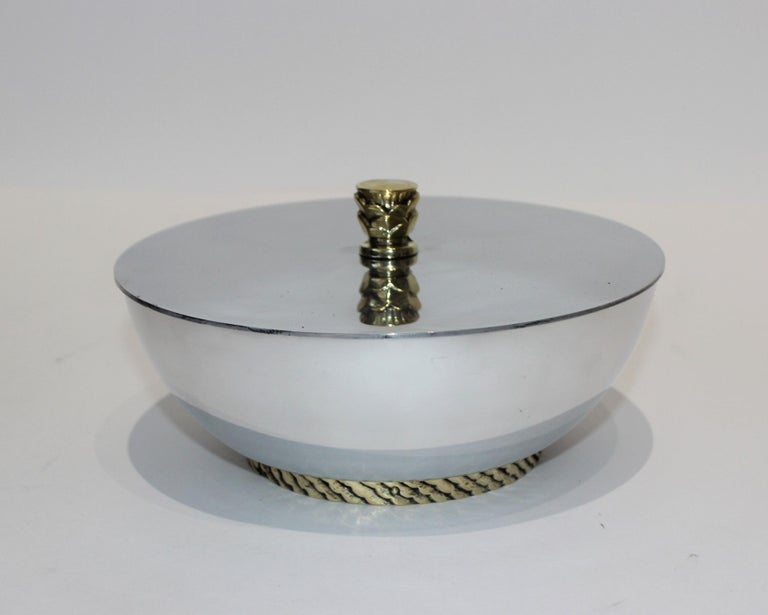 Art Deco covered dish bowl polished aluminum and brass by Kensington 1930s from a Palm Beach estate.