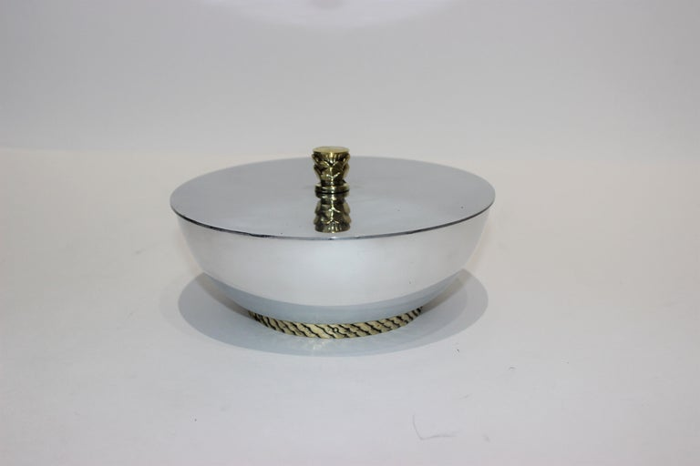 American Art Deco Covered Dish Bowl in Aluminum Brass by Kensington For Sale