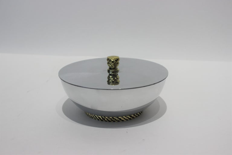 Polished Art Deco Covered Dish Bowl in Aluminum Brass by Kensington For Sale