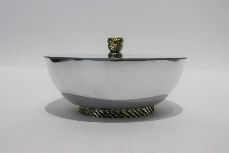 20th Century Art Deco Covered Dish Bowl in Aluminum Brass by Kensington For Sale