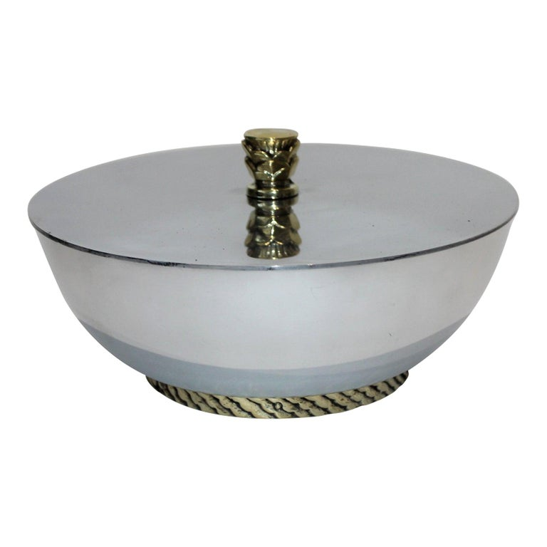 Art Deco Covered Dish Bowl in Aluminum Brass by Kensington For Sale