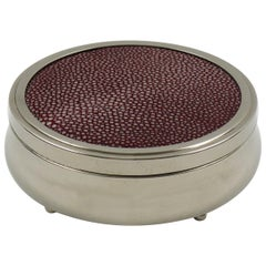 Art Deco Covered Round Box Chrome and Red Shagreen