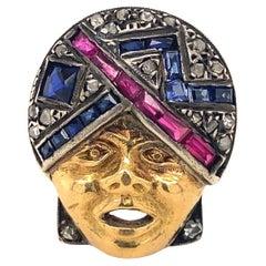 Art Deco Cozzolino Orientalist Diamonds 18K Gold Ring